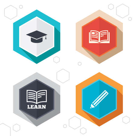 higher: Hexagon buttons. Pencil and open book icons. Graduation cap symbol. Higher education learn signs. Labels with shadow. Vector