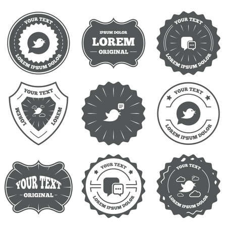 three dots: Vintage emblems, labels. Birds icons. Social media speech bubble. Chat bubble with three dots symbol. Design elements. Vector