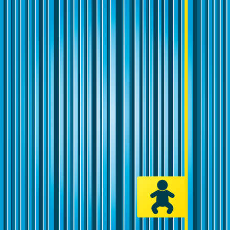 crawlers: Lines blue background. Baby infant sign icon. Toddler boy in pajamas or crawlers body symbol. Child WC toilet. Yellow tag label. Vector