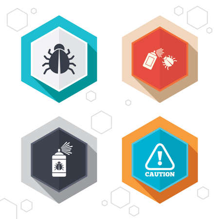 Hexagon buttons. Bug disinfection icons. Caution attention symbol. Insect fumigation spray sign. Labels with shadow. Vector