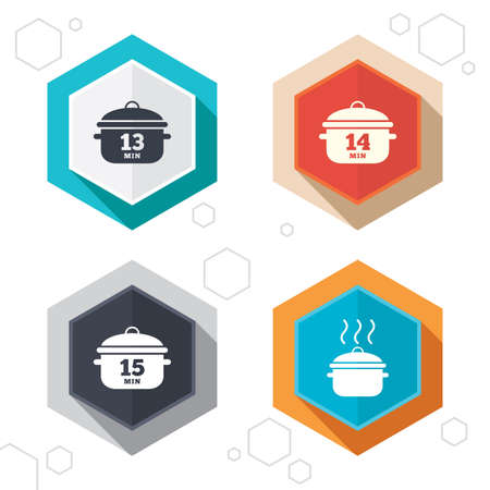 thirteen: Hexagon buttons. Cooking pan icons. Boil 13, 14 and 15 minutes signs. Stew food symbol. Labels with shadow. Vector
