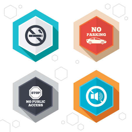 Hexagon buttons. Stop smoking and no sound signs. Private territory parking or public access. Cigarette symbol. Speaker volume. Labels with shadow. Vector