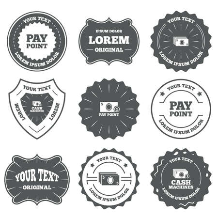 withdrawals: Vintage emblems, labels. Cash and coin icons. Cash machines or ATM signs. Pay point or Withdrawal symbols. Design elements. Vector Illustration