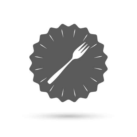 teaspoon: Vintage emblem medal. Eat sign icon. Cutlery symbol. Diagonal dessert trident fork. Classic flat icon. Vector