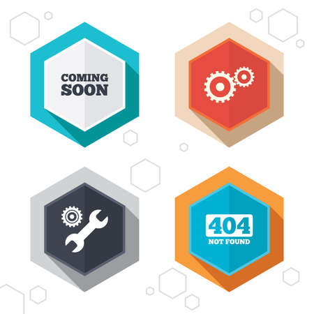 not found: Hexagon buttons. Coming soon icon. Repair service tool and gear symbols. Wrench sign. 404 Not found. Labels with shadow. Vector