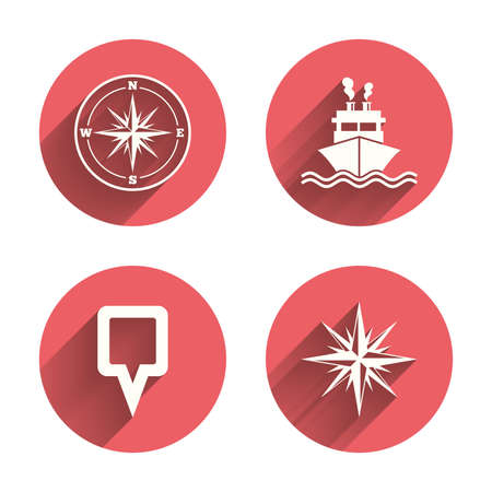 white rose: Windrose navigation compass icons. Shipping delivery sign. Location map pointer symbol. Pink circles flat buttons with shadow. Vector