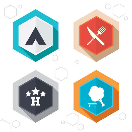 fork road: Hexagon buttons. Food, hotel, camping tent and tree icons. Knife and fork. Break down tree. Road signs. Labels with shadow. Vector Vectores