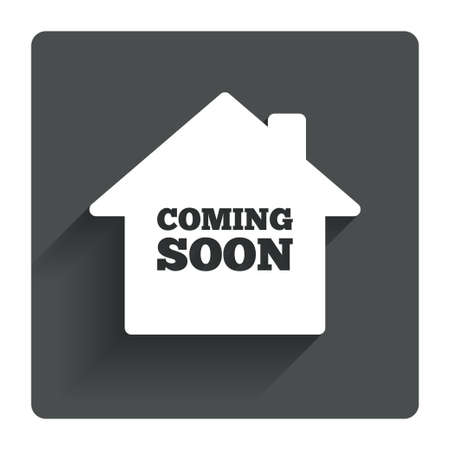 Homepage coming soon sign icon. Promotion announcement symbol. Gray flat square button with shadow. Modern UI website navigation. Vector Ilustrace