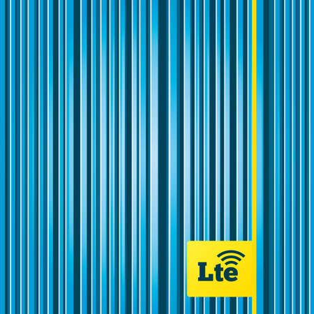 wireless communication: Lines blue background. 4G LTE sign icon. Long-Term evolution sign. Wireless communication technology symbol. Yellow tag label. Vector Illustration
