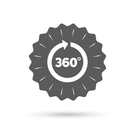 math icon: Vintage emblem medal. Angle 360 degrees sign icon. Geometry math symbol. Full rotation. Classic flat icon. Vector