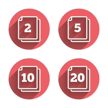 units: In pack sheets icons. Quantity per package symbols. 2, 5, 10 and 20 paper units in the pack signs. Pink circles flat buttons with shadow. Vector Illustration