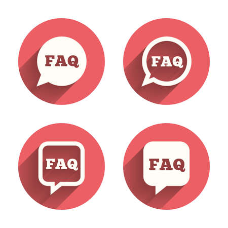 qa: FAQ information icons. Help speech bubbles symbols. Circle and square talk signs. Pink circles flat buttons with shadow. Vector