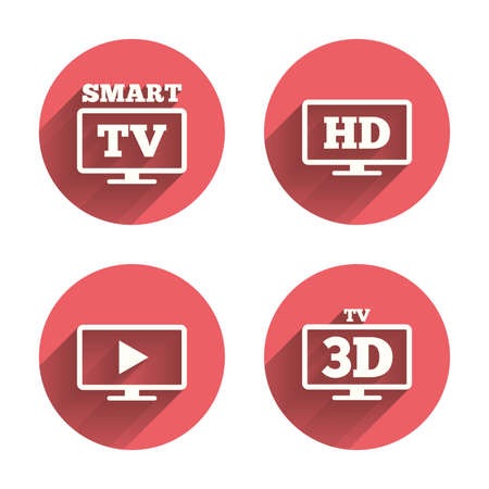 3d mode: Smart TV mode icon. Widescreen symbol. High-definition resolution. 3D Television sign. Pink circles flat buttons with shadow. Vector