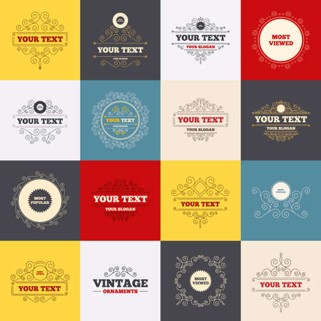 viewed: Vintage frames, labels. Most popular star icon. Most viewed symbols. Clients or customers choice signs. Scroll elements. Vector