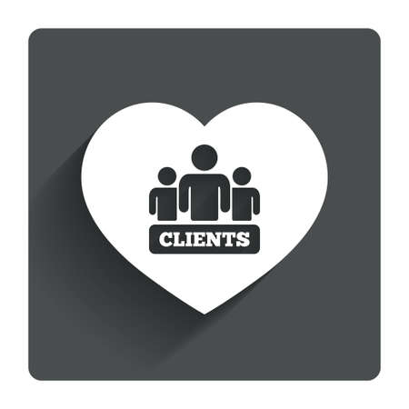 media network: Love Clients sign icon. Group of people symbol. Gray flat square button with shadow. Modern UI website navigation. Vector