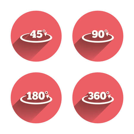 acute: Angle 45-360 degrees icons. Geometry math signs symbols. Full complete rotation arrow. Pink circles flat buttons with shadow. Vector Illustration