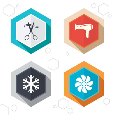 blow drying: Hexagon buttons. Hotel services icons. Air conditioning, Hairdryer and Ventilation in room signs. Climate control. Hairdresser or barbershop symbol. Labels with shadow. Vector