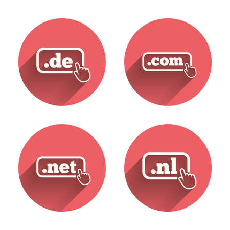 nl: Top-level internet domain icons. De, Com, Net and Nl symbols with hand pointer. Unique national DNS names. Pink circles flat buttons with shadow. Vector