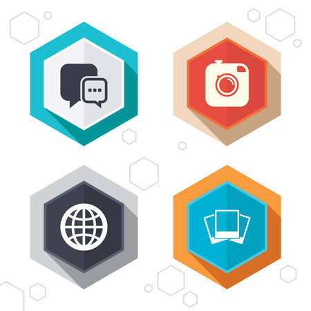 world  hexagon: Hexagon buttons. Social media icons. Chat speech bubble and world globe symbols. Hipster photo camera sign. Photo frames. Labels with shadow. Vector