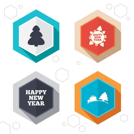 world  hexagon: Hexagon buttons. Happy new year icon. Christmas trees signs. World globe symbol. Labels with shadow. Vector