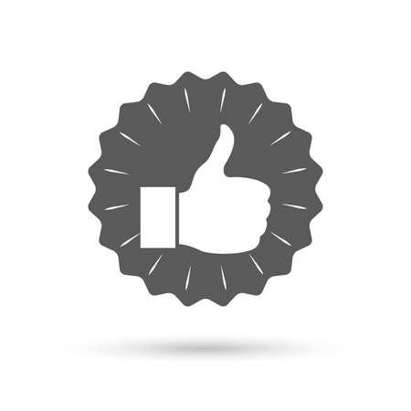 medal like: Vintage emblem medal. Like sign icon. Thumb up sign. Hand finger up symbol. Classic flat icon. Vector Illustration