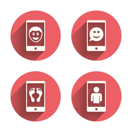 smartphone icon: Selfie smile face icon. Smartphone video call symbol. Self feet or legs photo. Pink circles flat buttons with shadow. Vector Illustration