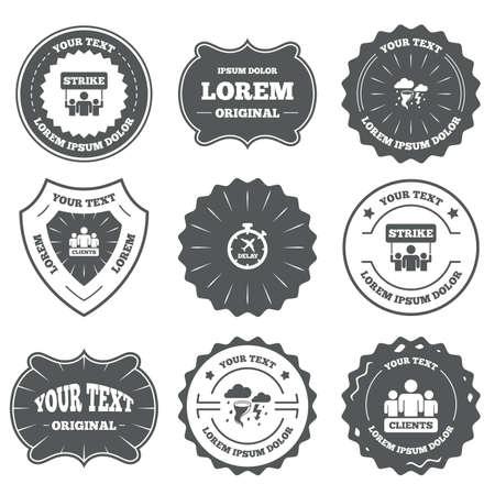 bad weather: Vintage emblems, labels. Strike icon. Storm bad weather and group of people signs. Delayed flight symbol. Design elements. Vector Illustration