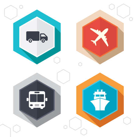 freight transportation: Hexagon buttons. Transport icons. Truck, Airplane, Public bus and Ship signs. Shipping delivery symbol. Air mail delivery sign. Labels with shadow. Vector Illustration