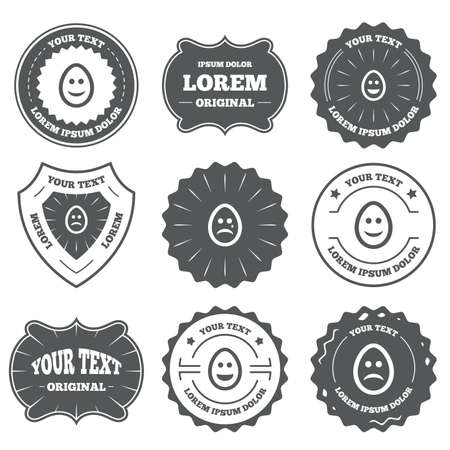 pasch: Vintage emblems, labels. Eggs happy and sad faces icons. Crying smiley with tear symbols. Tradition Easter Pasch signs. Design elements. Vector Illustration