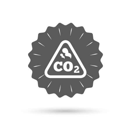caution chemistry: Vintage emblem medal. CO2 carbon dioxide formula sign icon. Chemistry symbol. Classic flat icon. Vector