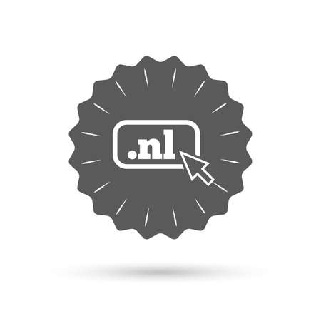 nl: Vintage emblem medal. Domain NL sign icon. Top-level internet domain symbol with cursor pointer. Classic flat icon. Vector Illustration