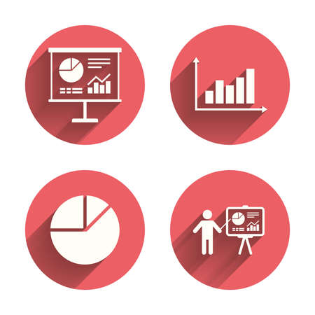 on demand: Diagram graph Pie chart icon. Presentation billboard symbol. Supply and demand. Man standing with pointer. Pink circles flat buttons with shadow. Vector
