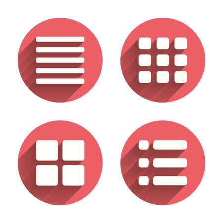 thumbnails: List menu icons. Content view options symbols. Thumbnails grid or Gallery view. Pink circles flat buttons with shadow. Vector