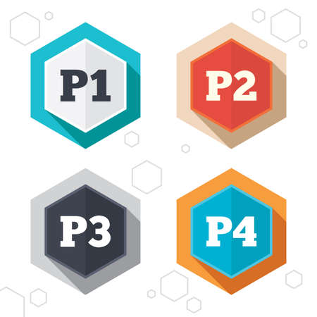 Hexagon buttons. Car parking icons. First, second, third and four floor signs. P1, P2, P3 and P4 symbols. Labels with shadow. Vector