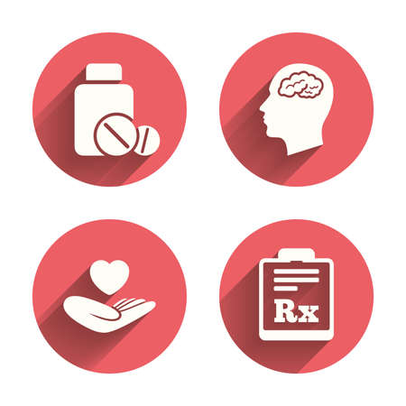 rx: Medicine icons. Medical tablets bottle, head with brain, prescription Rx signs. Pharmacy or medicine symbol. Hand holds heart. Pink circles flat buttons with shadow. Vector