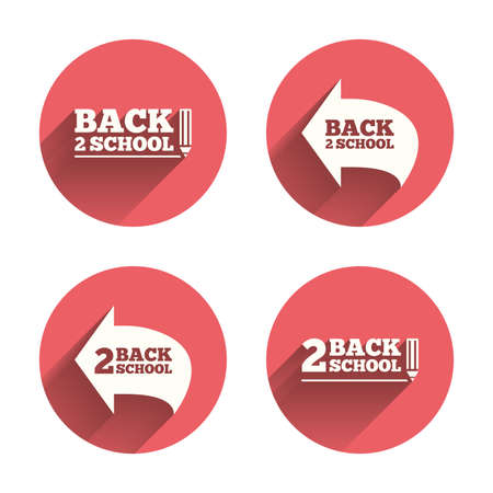 after school: Back to school icons. Studies after the holidays signs. Pencil symbol. Pink circles flat buttons with shadow. Vector