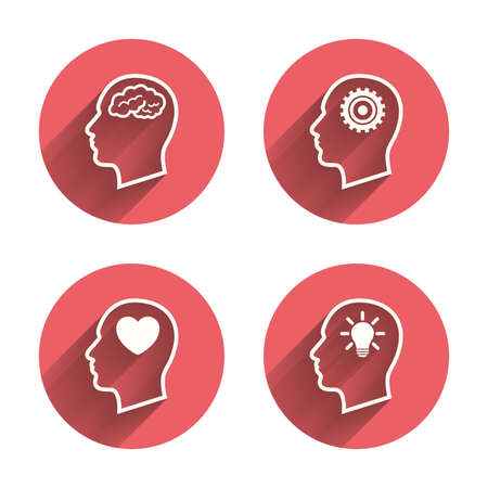 idea icon: Head with brain and idea lamp bulb icons. Male human think symbols. Cogwheel gears signs. Love heart. Pink circles flat buttons with shadow. Vector