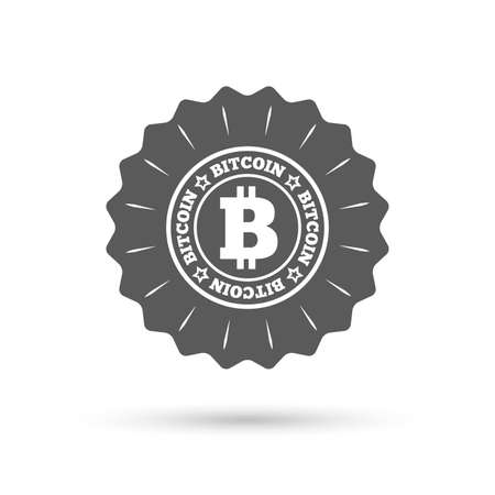cryptography: Vintage emblem medal. Bitcoin sign icon. Cryptography currency symbol. P2P. Classic flat icon. Vector Illustration