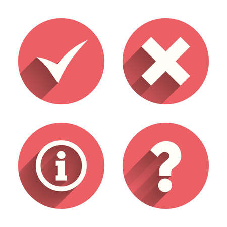 ask: Information icons. Delete and question FAQ mark signs. Approved check mark symbol. Pink circles flat buttons with shadow. Vector