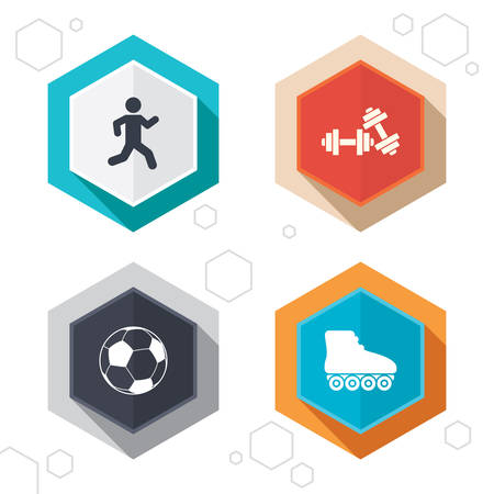 rollerblades: Hexagon buttons. Football ball, Roller skates, Running icons. Fitness sport symbols. Gym workout equipment. Labels with shadow. Vector