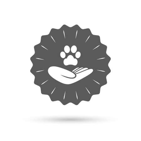 animal shelter: Vintage emblem medal. Shelter pets sign icon. Hand holds paw symbol. Animal protection. Classic flat icon. Vector Illustration