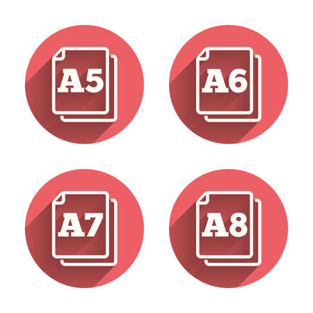 Paper size standard icons. Document symbols. A5, A6, A7 and A8 page signs. Pink circles flat buttons with shadow. Vector