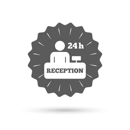 reception table: Vintage emblem medal. Reception sign icon. 24 hours Hotel registration table with administrator symbol. Classic flat icon. Vector