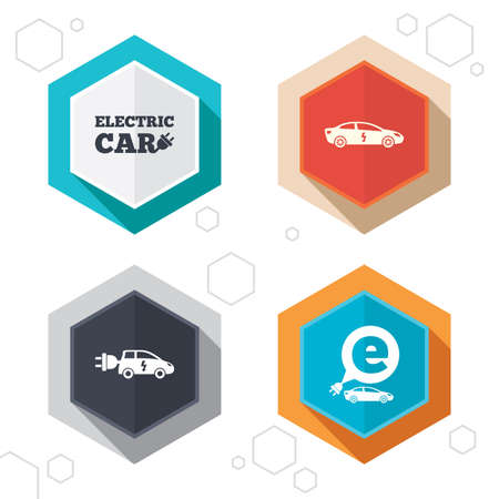 hatchback: Hexagon buttons. Electric car icons. Sedan and Hatchback transport symbols. Eco fuel vehicles signs. Labels with shadow. Vector