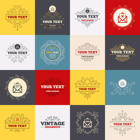 webmail: Vintage frames, labels. Mail envelope icons. Message document symbols. Post office letter signs. Delete mail and SMS message. Scroll elements. Vector