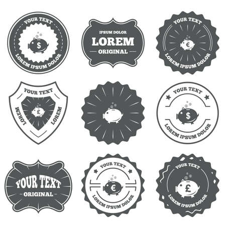 pound coin: Vintage emblems, labels. Piggy bank icons. Dollar, Euro and Pound moneybox signs. Cash coin money symbols. Design elements. Vector Illustration