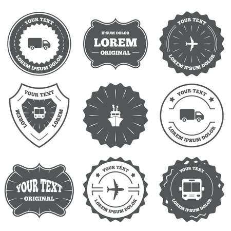 retro badge: Vintage emblems, labels. Transport icons. Truck, Airplane, Public bus and Ship signs. Shipping delivery symbol. Air mail delivery sign. Design elements. Vector
