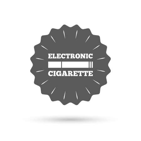 electronic cigarette: Vintage emblem medal. Smoking sign icon. E-Cigarette symbol. Electronic cigarette. Classic flat icon. Vector