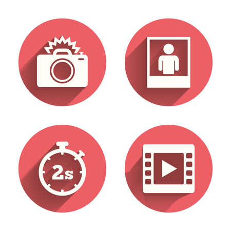 seconds: Photo camera icon. Flash light and video frame symbols. Stopwatch timer 2 seconds sign. Human portrait photo frame. Pink circles flat buttons with shadow. Vector