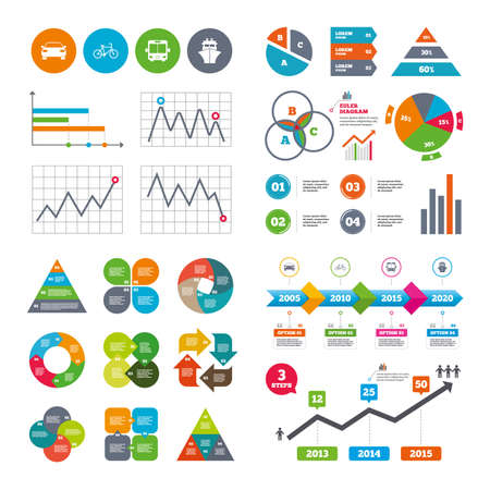 public market sign: Business data pie charts graphs. Transport icons. Car, Bicycle, Public bus and Ship signs. Shipping delivery symbol. Family vehicle sign. Market report presentation. Vector
